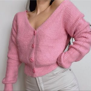 HOT & DELICIOUS Pink Fuzzy Cropped Cardigan -Small